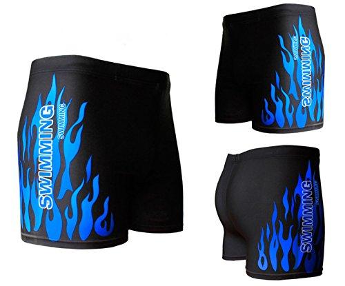 Hosaire Maillot de bain boxer homme à motif flamme Bleu