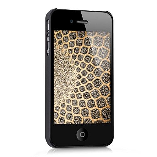 kwmobile Étui rigide Design Keep Calm Call Batman pour Apple iPhone 4 / 4S en jaune noir rectangle à paillettes noir blanc