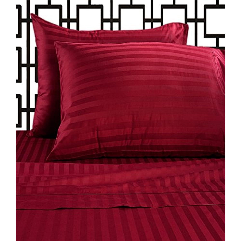 laxlinens 500 fils en coton égyptien 4 4 4 pièces pour lit (+ 61 cm) poche profonde suppléHommes taire UK King Size, rouge à rayures ad39f2