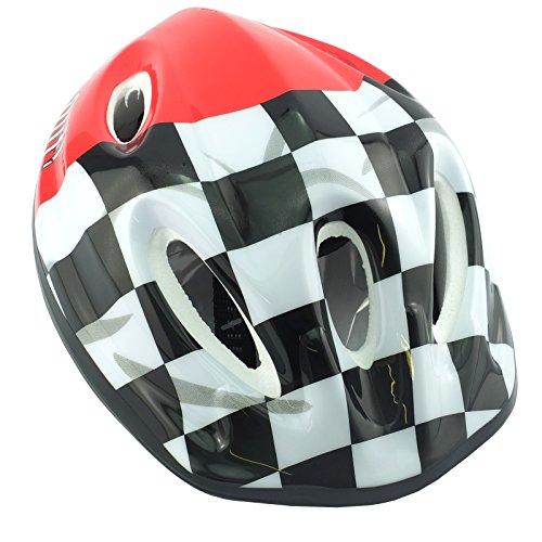 Kinder Helm-mit verstellbaren Trägern von 48-56cm Red & Check 1 Stück -