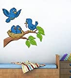 #10: Decals Design 'Birds Feeding' Wall Sticker (PVC Vinyl, 70 cm x 50 cm)