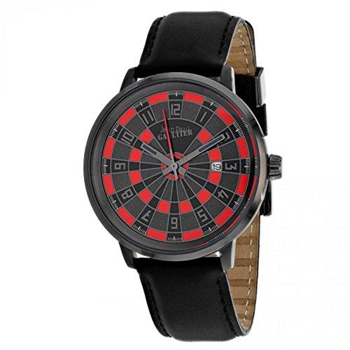 Jean Paul Gaultier Cible Homme 42mm Bracelet Cuir Noir Quartz Montre 8504803