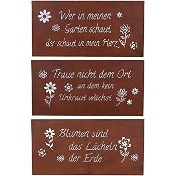 Schilder 3er set eisen rost b x h 40x20cm rotbraun garten for Deko schilder garten