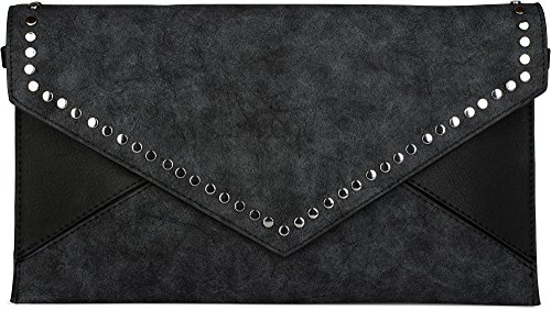 styleBREAKER Envelope Clutch im Kuvert Design mit Nieten, 2-Tone washed Vintage Look, Abendtasche, Damen 02012172, Farbe:Schwarz (Fold Messenger Leder Bag)