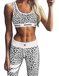 Inlefen Traje de Deporte para Mujer 2 Piezas/Conjuntos Sujetador + Polainas Trajes de Fitness de Elasticidad para Yoga, Correr y Otras Actividades