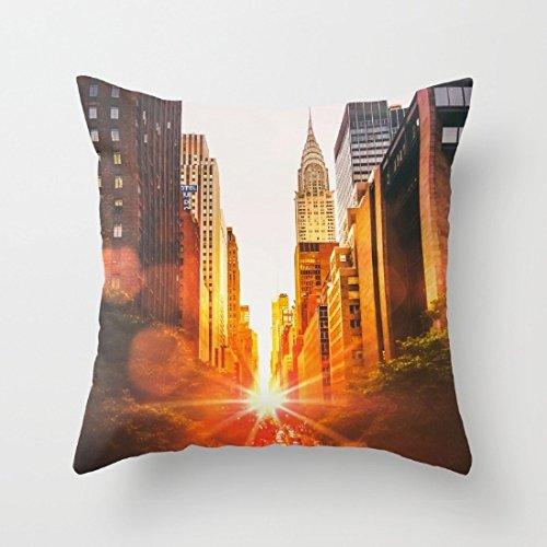 Ciudad de Nueva York Atardecer manta fundas de almohada decorativa almohada cubre...