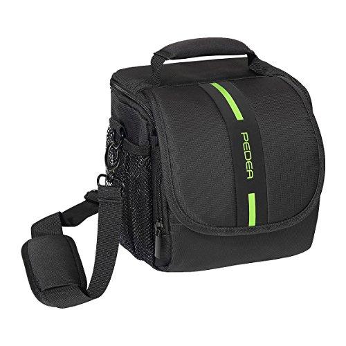 """PEDEA\""""Essex\"""" SLR-Kameratasche mit Regenschutz, Tragegurt und Zubehörfächer Gr. M, schwarz/grün"""