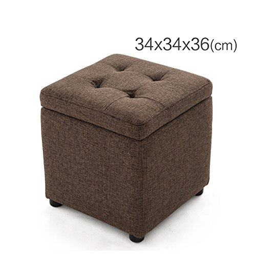 RFJJ Lagerung Hocker kleinen quadratischen Hocker Schuh Hocker Sofa Hocker Ottomane, rot braun Leinen -Komfortabel/Dekoration (größe : 34 * 34 * 36cm) (Ottomane Wohnzimmer Rot Für)