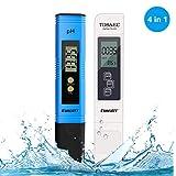pH Messgerät, Digital pH TDS EC Temperatur 4 in 1,Wasserqualität Tester(ATC) Hoher Genauigkeit mit LCD Display, Digital PH TDS Messgerät für Trinkwasser/Schwimmbad/Aquarium