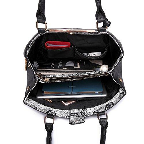 Miss LuLu Handtasche Damen Aktentasche Bürotasche Officetasche Business Vintage Elegant Praktisch Groß (LT6619-Braun) LT6619-Schwarz