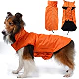 Hugooo Wasserdichte Hundemantel Jacke, Gefüttert Fleece Wärmere Kleidung für Sehr Große Hunde Raincoat Leichtbau mit Bauchschutz XXXL - Große 57CM Lange