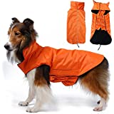 Large Dog Coat Jackets Waterproof, Fleece Lined Winter Warmer Clothes for Extra Large Dogs Raincoat Lightweight with Belly Protector XXXL - Large 57CM