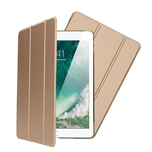 NALIA Smart-Case kompatibel mit iPad 9,7' 2017/2018, Ultra-Slim Dünne Tablet Schutzhülle Kunst-Leder Hardcase Multi-Ständer Tasche, Display-Schutz Back-Cover Flip-Case Klapphülle, Farbe:Gold Farbe Flip Case