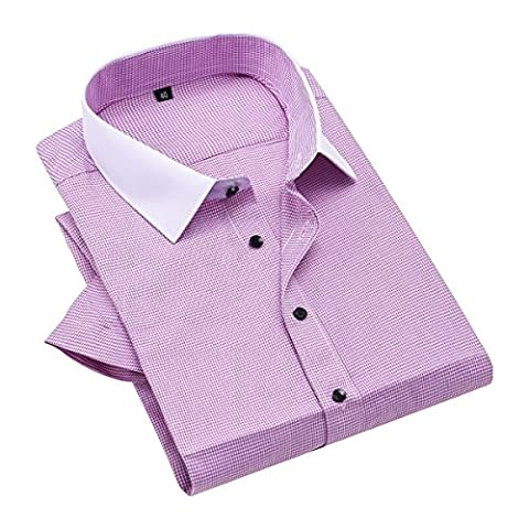 Homme Houndstooth manche courte Chemises polyester, Violet, 42