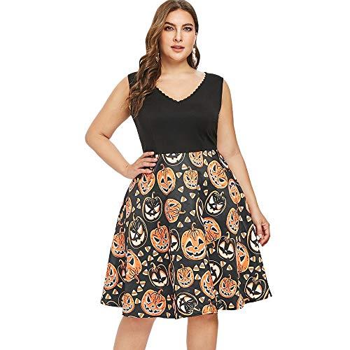 Shuxinmd Eleganter und modischer Rock Ärmelloses Vintage Swing Kleid für Damen Kürbisse Druck Halloween Abendkleid Kostüm V-Ausschnitt Eleganter und modischer Rock (Size : 1X)