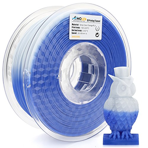 AMOLEN 3D Drucker Filament, Temperatur Farbwechsel Blau bis Weiß, PLA Filament 1.75mm 1KG(2.2lb),+/- 0.03 mm 3D Drucker Materialien, enthält Proben Temperatur Farbwechsel Rosa bis Weiß Filament.