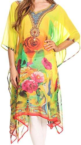 sakkas-tala-rhinestone-accented-multicolored-sheer-caftan-top-cover-up-23069-lemon-os