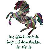 Pferde Bügelbild mit Spruch plus 1 kleines Gratis Bild zum Üben; für helle Textilien