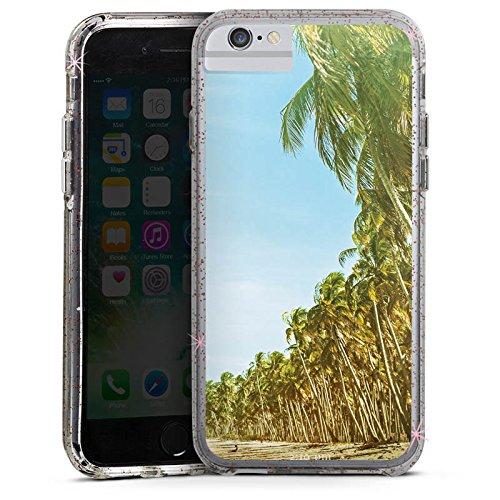 Apple iPhone 7 Plus Bumper Hülle Bumper Case Glitzer Hülle Palmen Urlaub Strand Bumper Case Glitzer rose gold