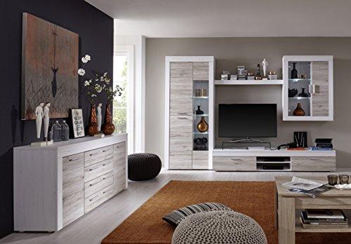 trendteam BM87277 Sideboard Wohnzimmerschrank weiß Pinie Struktur Nachbildung, Fronten Eiche San Remo  Sand Nachbildung, BxHxT 176x79x40 cm - 4