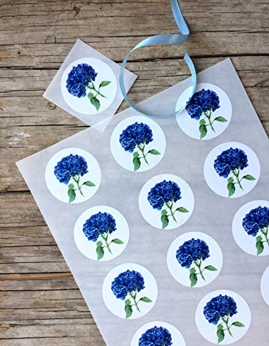 Hortensie Sticker A4 Bogen, 15 Stk. ca.5 cm Durchmesser, Hortensien florale Aufkleber, selbstklebende runde Etiketten mit blauer Hortensie, Aquarell Aufkleber, Geschenk Verpackung