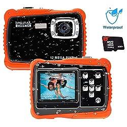 Unterwasser Kamera für Kinder,12MP HD Wasserdichte Digitalkamera,Mini Action Camcorder Kinderkamera,2.0 Zoll LCD Bildschirm Anzeige/4X Digitaler Zoom/5MP CMOS-Sensor mit 8GB Speicherkarte & Batterien