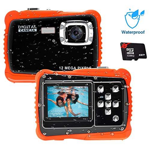 Unterwasser Kamera für Kinder,12MP HD Wasserdichte Digitalkamera,Mini Action Camcorder Kinderkamera,2.0 Zoll LCD Bildschirm Anzeige/4X Digitaler Zoom/5MP CMOS-Sensor mit 8GB Speicherkarte & Batterien Lcd-bildschirme