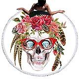Telo Rotondo Mare Stampa Cranio Tropical Arazzo Etnico Grande Tovaglia Fantasia Colorata Boho Chic Tappetino Yoga Microfibra Morbido Teli Moda Coperta da Spiaggia Picnic Viaggio Tappezzeria Decorativa