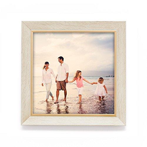 Holz Rahmen H28 für Bilder quadratisch 10x10 15x15 20x20 25x25 30x30 40x40 50x50 Farbe Ahorn mit goldenen Innenrand Format 25x25