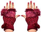 Devil Pom Pom Fur Fingerless Cozy & Warm Winter Gloves for Women (Red)