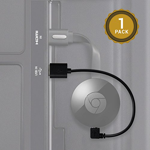 Cable USB Exinoz Chromecast- cable USB de 8 pulgadas diseñado para alimentar su Google Chromecast en el Streaming HDMI Media Player de su puerto USB TV (1 Pack)