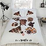 Perros Multi Juego de funda nórdica Color Blanco Marrón Cute Labrador Juego de cama tamaño doble Hallways®, diseño de dálmata