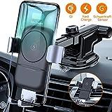 VANMASS Wireless Charger Auto Handyhalterung 10W Qi Ladestation Auto 2 in 1 Kfz Handy Halterung Induktiv mit Lüftungs & Saugnapfshalter für iPhone XS MAX/XR/X/8P, S10/S9/S8 & andere Qi Fähige Geräte