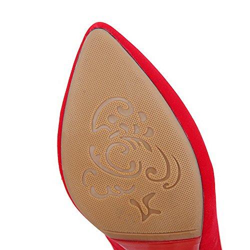 AgooLar Damen Spitz Zehe Stiletto Fransig Ziehen Auf Pumps Schuhe Rot
