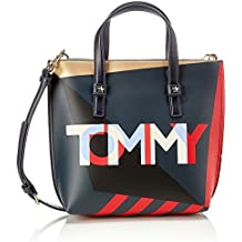 Tommy Hilfiger - Th Effortless Tote Small Geo Cb, Bolsos totes Mujer, Azul (Core Mix), 26x10x24 cm (B x H T)