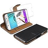 eFabrik Housse + Film de protection en verre trempé pour Samsung Galaxy A3 2016 Coque 4,7 pouces (A310F) set Bookstyle Design Smartphone-Cover similicuir noir