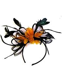 Tocado para boda con plumas, color negro y naranja