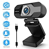 TedGem Webcam, Webcam 1080p, PC Webcam con micrófono Full HD Webcam USB Webcam...