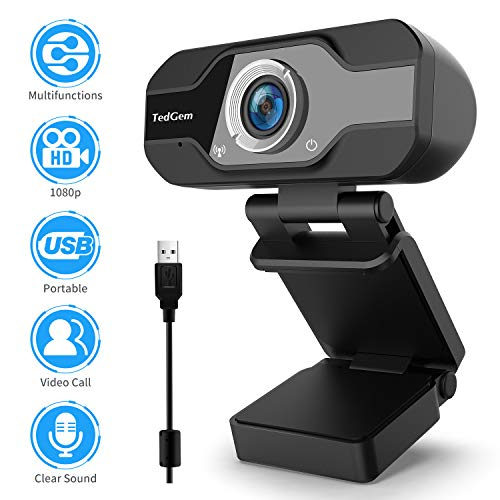 TedGem Webcam 1080p PC Webcam avec Microphone Webcam Webcam Webcam USB Streaming Webcam pour appels vidéo et Enregistrement, Petit/Flexible/réglable, Compatible Windows, Android, Linux