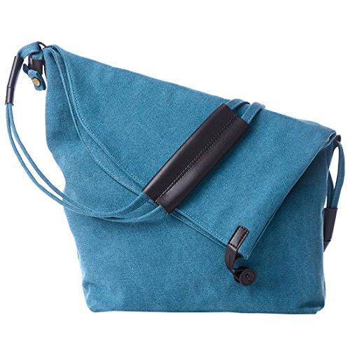 donna Borse - SODIAL(R)donna retro' moda Canvas Borse£¨cachi£© blu