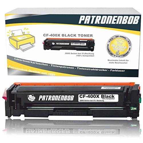 Patronenbob® XL Black Toner kompatibel zu HP CF400X 201X Tonerkartusche für HP LaserJet Pro MFP M277dw, Pro 200 M252dw, M277n, M252n, M277n, M274n - Schwarz XXL 2.800 Seiten