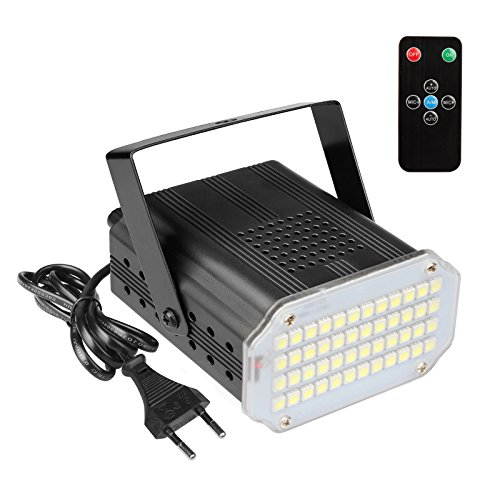 TSSS 10W Halloween LED Strobe Licht mit Fernbedienung, Sound aktiviert, 9500K 48 Super-Hell LEDs, einstellbare Flash-Frequenz, Flash Party Beleuchtung für Kinder Party, Weihnachten Party