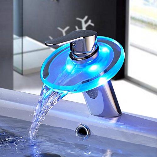 LED RGB Glas Waschtisch Wasserhahn Wasserfall Armatur Waschbecken Einhebelmischer Mischbatterie für Badzimmer
