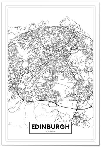 Panorama Póster Mapa Ciudad Edimburgo 50 x 70 cm
