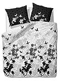 3 tlg. etérea Renforcé Baumwolle Bettwäsche Osaka Schmetterlinge Grau Anthrazit, 200x220cm + 2x...