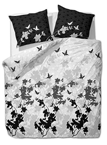 3 tlg. etérea Renforcé Baumwolle Bettwäsche Osaka Schmetterlinge Grau Anthrazit, 200x200 cm + 2x 80x80 cm
