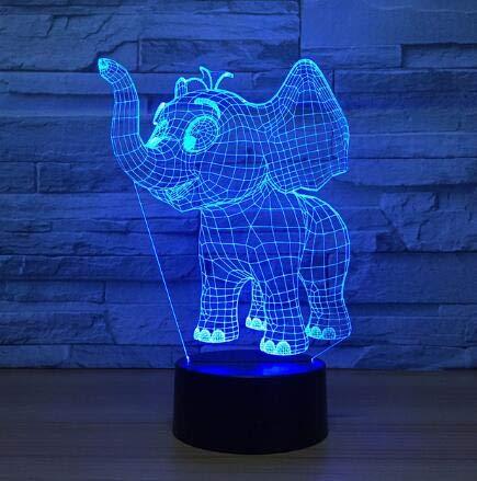 Cute Elephant 3D Illusion LED Tischleuchte Nachtlicht mit Animal Elephant Shape Touch 7 Farben Effekt ändern Kids Hobbies Lampe, Modell 2,7 Farbwechsel (Halloween-einzelteilen Baby Cute)