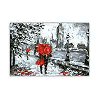 Romantic Couple Holding a Red Umbrella in London on Premium Quality Poster Wall Art Decoration City Pictures
