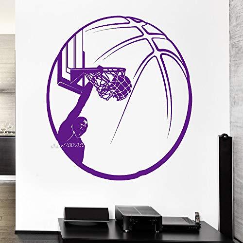 zhuziji Basketball Vinyl Wandaufkleber Sport Decor Ball Slam Dunk Jungen Room Decor Wandtattoo Hochwertige Tapete 3D Poste 888-2 82X82 cm