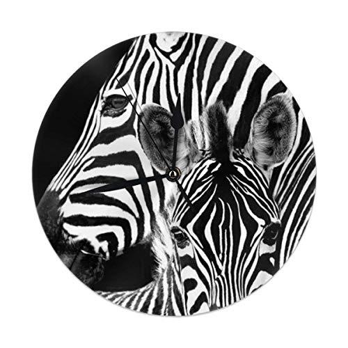 dfegyfr Wanduhr, Zebra, leise, Nicht tickend, 24 cm, batteriebetrieben, rund, einfach zu lesen, für Zuhause, Büro, Schule -